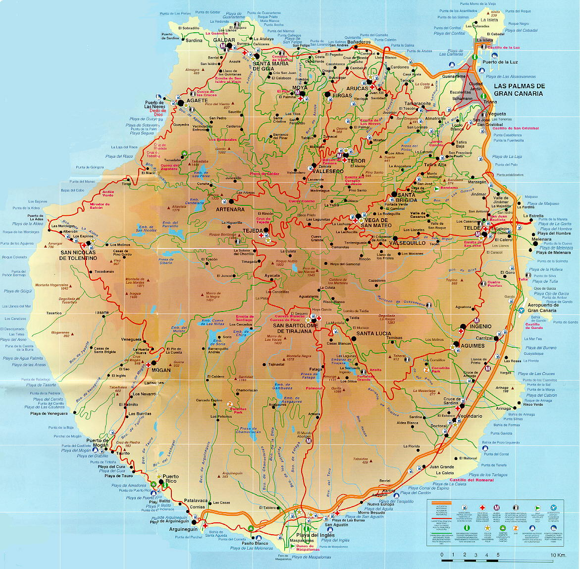 Road Map of Gran Canaria